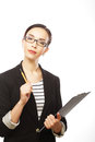Woman With Glasses Holding Clipboard Royalty Free Stock Images - 31796259