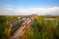 Long Wooden Bridge For Bicycles Royalty Free Stock Image - 31796746