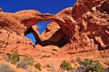 Wide Angle View Of Double Arch In Arches National  Stock Photography - 31806942