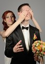 Close Up Of A Nice Young Wedding Couple Royalty Free Stock Image - 31872266