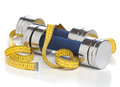 Dumbbells And A Measuring Tape Royalty Free Stock Photo - 31890985