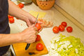 Male Hands Preparing Vegetable Dish Stock Photo - 31893890