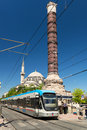 The Tram Stopped At The Column Of Constantine In Istanbul Royalty Free Stock Photography - 31900467
