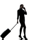 Business Woman Traveling Telephone Silhouette Royalty Free Stock Image - 31946756