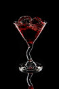 Red Martini Glass With Ice Cubes Royalty Free Stock Photo - 31965975
