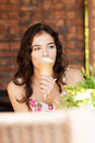 Portrait Of Young Happy Woman Eating Ice-cream Royalty Free Stock Photo - 31979525