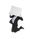 Business Man Jumping And Holding Billboard Royalty Free Stock Photography - 31997477