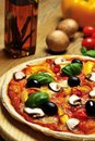Closeup From A Vegetarian Pizza, Oil And Ingredients Stock Images - 32000124