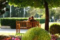 Young Couple Sitting On A Bench In The Park Royalty Free Stock Images - 32001289