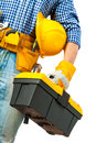 Toolbox In Hand Of Worker Stock Photo - 32004870
