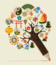 China Tradition Concept Pencil Tree Stock Photography - 32017692