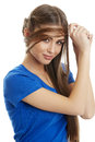 Gorgeous Woman Playing With Hair Royalty Free Stock Images - 32029219