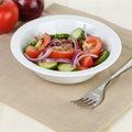 Served Plate With Mix Salad From Tomatoes And Cucumbers Royalty Free Stock Photo - 32031725
