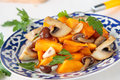 Plate Of Fried Pumpkin And Mushrooms Stock Image - 32052541