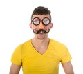 Man With Funny Carnival Mask Royalty Free Stock Image - 32055026
