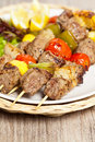 Kebabs With Peppers, Tomato And Onion Stock Image - 32057921