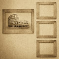 Grunge Wood Frame Background, Vintage Paper Texture Royalty Free Stock Photo - 32061025