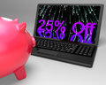 Twenty-Five Percent Off On Laptop Showing Special Promotions Stock Image - 32070641