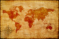 World Map On Old Paper Stock Images - 32074154