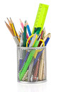 Holder Basket And Office Supplies Stock Photography - 32087642