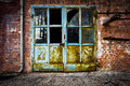 Old Rusty Iron Door Glass Brick Wall Royalty Free Stock Photography - 32087727
