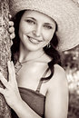 Closeup Portrait Of A Cute Young Woman In Straw Hat Stock Photo - 32099510
