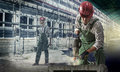 Workers At A Construction Site Royalty Free Stock Image - 32100306