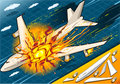 Isometric Explosion Of Airplane Falling Down Royalty Free Stock Photography - 32104117