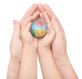 Mom And Child Handing A Globe Royalty Free Stock Photo - 32112715