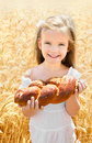 Happy Girl On Field Of Wheat Royalty Free Stock Photo - 32145725
