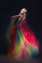 Model In Colorful Dress On Black Background Stock Image - 32176201
