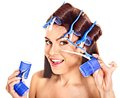 Woman Wear Hair Curlers On Head. Royalty Free Stock Photography - 32199747