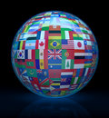 Glass Globe With Flags Around Stock Photography - 3225432