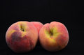 Fresh Peaches Isolated On Black Background Royalty Free Stock Photo - 32219465