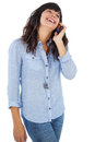 Smiling Brunette With Her Mobile Phone Calling Someone Royalty Free Stock Photo - 32232205