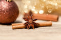 Anice Cinnamon And Bauble Christmas Decoration In Gold Stock Photo - 32250900