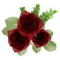 Top View Of Three Red Roses In Vase Isolated On White Stock Photos - 32251123