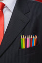 Close-up On Creativity. Close-up On Multi Colored Pencils Sticki Royalty Free Stock Photos - 32281008
