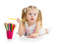 Girl Drawing With Colour Pencils Stock Image - 32307351