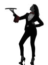Woman Waiter Butler Holding Empty Tray  Silhouette Stock Photography - 32309702