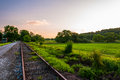 Sunset Over Railroad Tracks And Fields In York County, PA Royalty Free Stock Photo - 32313025