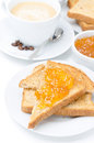 Toast With Orange Jam And Cup Of Cappuccino For Breakfast Stock Photo - 32331240