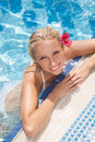 Pretty Women In Pool. Top View Of Attractive Young Women In Biki Royalty Free Stock Images - 32333549