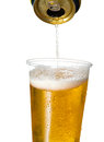 Golden Lager Or Beer In Disposable Plastic Cup Stock Image - 32342711
