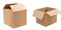Opened And Closed Corrugated Cardboard Boxes Royalty Free Stock Photo - 32354285