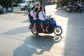 Schoolgirls On Motorbike Royalty Free Stock Image - 32362856