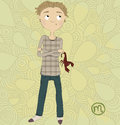 Zodiac Sign Scorpio. A Boy With A Scorpion In His  Royalty Free Stock Image - 32432946