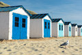 Blue Beach Huts Stock Images - 32438144