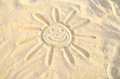 Smiling Sun Drawn In The Sand Stock Images - 32443374