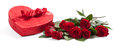 Valentine S Gifts Including A Bouquet Of Roses And Candy Heart Royalty Free Stock Photos - 32460278